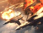 ace_combat ace_combat_5 aircraft airplane diving drop_tank explosion f-14_tomcat fighter_jet multiple_aircraft tagme