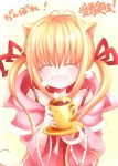 blonde_hair cat_ears catbell closed_eyes cup hair_ribbon long_hair oversized_clothes ribbon saucer smile twintails