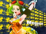 agata_no_michi armpits arms_up goggles goggles_on_head green_eyes green_hair gumi headphones headset highres open_mouth short_hair smile solo star vocaloid wrist_cuffs