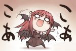 >:) >:d bat_wings blush chibi dress_shirt head_wings headwings koa_(phrase) koakuma long_hair long_sleeves necktie nekoguruma o_o open_mouth pantyhose red_hair redhead shirt skirt skirt_set smile solo touhou translated vest white_shirt wings