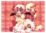 ana_(artist) ana_(rznuscrf) bad_id bat_wings chibi closed_eyes flandre_scarlet frills hat head_wings heart hong_meiling izayoi_sakuya kiss koakuma minigirl open_mouth patchouli_knowledge red_eyes sleeping touhou wallpaper wings