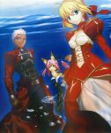 animal_ears archer blonde_hair caster_(fate/extra) dark_skin dress epaulettes fate/extra fate/stay_night fate_(series) fox_ears fox_tail green_eyes hair_ribbon highres japanese_clothes official_art photoshop pink_hair ribbon saber saber_extra scan see-through tail takeuchi_takashi twintails white_hair yellow_eyes