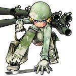 blue_eyes gloves helmet knife mecha_musume military nijiiro_ink thigh-highs thighhighs