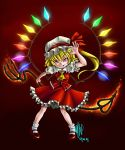 >:) 2009 ascot blonde_hair coin dated dress evil_grin evil_smile fire flandre_scarlet frills glowing grin hat laevatein madkoifish mary_janes ponytail rainbow_order red_background red_dress red_eyes shoes short_hair side_ponytail simple_background slit_pupils smile socks solo touhou wings