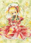 blue_eyes chinako cup dress hair_ribbon hairband nib_pen_(medium) ribbon rozen_maiden saucer shinku solo teacup traditional_media twintails watercolor_(medium)