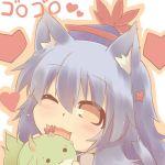 1girl :3 animal_ears blue_hair brown_eyes cat_ears chibi fang hat hazuki_ruu heart horn_ribbon horns kamishirasawa_keine kamishirasawa_keine_(hakutaku) kemonomimi_mode lowres one_eye_closed open_mouth ribbon smile sukusuku_hakutaku touhou