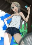 1girl apon blurry casual depth_of_field from_below holding long_hair looking_at_viewer open_mouth original ponytail popsicle shorts solo summer