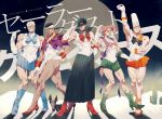 5boys arms_up beard bishoujo_senshi_sailor_moon blue_skirt card character_request cosplay crescent dark_skin dog earrings elbow_gloves facial_hair gloves green_eyes grey_hair grin hat hat_tip jean_pierre_polnareff jewelry jojo_no_kimyou_na_bouken joseph_joestar kakyouin_noriaki kuujou_joutarou looking_at_viewer magical_girl manly mohammed_avdol multiple_boys necklace one_eye_closed pose redhead rei_(sanbonzakura) sailor_jupiter sailor_jupiter_(cosplay) sailor_mars sailor_mars_(cosplay) sailor_mercury sailor_mercury_(cosplay) sailor_moon sailor_moon_(cosplay) sailor_venus sailor_venus_(cosplay) salute skirt smile