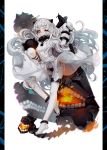 1girl airplane dress highres holding horns kantai_collection long_hair looking_at_viewer machinery miemia mittens northern_ocean_hime open_mouth red_eyes white_dress white_hair white_skin