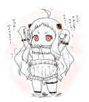 1girl alternate_costume arms_up chibi horns kantai_collection long_hair mittens northern_ocean_hime nozarashi_satoru pale_skin red_eyes shinkaisei-kan solo white_hair you're_doing_it_wrong