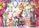 1girl blonde_hair chain clock curtains dress e.o. flandre_scarlet flower hat hat_ribbon lantern leg_hug looking_at_viewer mirror mob_cap pink_rose puffy_short_sleeves puffy_sleeves red_dress red_eyes red_shoes reflective_floor ribbon rose shaded_face shoes short_sleeves sitting_on_object solo stuffed_animal stuffed_toy table teddy_bear touhou vase wings