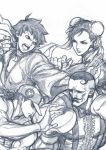 2boys 2girls baseball_cap boxing_gloves braid bun_cover choker chun-li double_bun dougi dudley facial_hair fighting_stance graphite_(medium) greyscale hat highres makoto_(street_fighter) monochrome multiple_boys multiple_girls mustache ribbon_choker short_hair single_braid street_fighter street_fighter_iii street_fighter_iii:_3rd_strike traditional_media yoshihara_motoki yun_lee