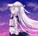 1girl azuuru_(azure0608) blue_eyes clouds hat hibiki_(kantai_collection) kantai_collection long_hair school_uniform serafuku side silver_hair skirt sky solo verniy_(kantai_collection)