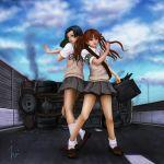 2girls armband bandolier black_hair ebi_(eeotoko) fan hair_ribbon highres kongou_mitsuko lamppost multiple_girls paper_fan ribbon road school_uniform shirai_kuroko skirt thigh_strap to_aru_kagaku_no_railgun to_aru_majutsu_no_index twintails wreckage