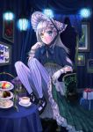 1girl blue_eyes blush bonnet cup dress gift gloves hat heterochromia long_hair original pastry silver_hair sitting solo striped striped_legwear tea teacup vertical-striped_legwear vertical_stripes white_gloves yellow_eyes