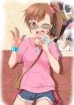 1girl bracelet brown_eyes brown_hair crepe eating food food_on_face fruit fuku_d futami_mami glasses idolmaster jewelry looking_at_viewer one_eye_closed open_mouth side_ponytail solo strawberry sunglasses v