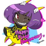 1girl ;) anniversary antennae artist_name artist_request bob_cut chibi dark_skin grin mighty_no._3 mighty_no._9 no_feet official_art one_eye_closed purple_hair red_eyes robot sharp_teeth short_hair smile solo