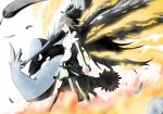 1girl beak bird black_wings bow brown_hair cape crossover feathered_wings feathers fire from_side hair_bow hand_on_headwear hat highres holding holding_poke_ball honchkrow long_hair poke_ball pokemon pokemon_(creature) red_eyes reiuji_utsuho skirt smile summersketch third_eye touhou wings