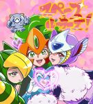 ! 3girls animal_ears animal_ears_helmet brown_eyes capcom cat_ears genderswap genderswap_(mtf) green_eyes green_hair hakushin hand_gesture headgear heart heart_hands helmet jupiter_(rockman) multiple_girls open_mouth pluto_(rockman) rockman rockman_(classic) rockman_world_5 smile terra_(rockman) text violet_eyes