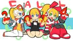 3girls blonde_hair blue_eyes blush_stickers call_(mighty_no._9) call_e call_f call_h garrison_cap green_eyes hat headphones kneeling long_hair low_twintails mighty_no._9 multicolored_hair multiple_girls multiple_persona natsume_yuuji official_art ponytail robot_ears robot_joints side_ponytail sitting sketch smile twintails two-tone_hair uniform white_hair yokozuwari