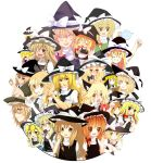 1girl :d absurdres animal_ears blonde_hair book bow braid brown_eyes cat_ears choco_ice dress egg hat hat_bow highres kirisame_marisa long_hair multiple_girls multiple_persona o_o open_mouth pastry pastry_bag ribbon skirt smile teapot yellow_eyes