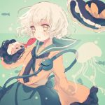 1girl ascot fish hat hat_removed headwear_removed jellyfish karunabaru komeiji_koishi lowres open_mouth touhou underwater white_hair yellow_eyes