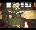 1girl alternate_costume blush dress flower frills gothic_lolita green_eyes green_hair hairband hat karua_m komeiji_koishi letterboxed lolita_fashion rose short_hair solo stairs third_eye touhou