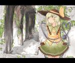 1girl blush green_eyes green_hair hat karua_m komeiji_koishi letterboxed ruins scenery short_hair skirt solo third_eye touhou
