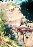 black_rose blonde_hair crown_of_thorns dio_brando flower headband hertz_(tsuquart) jojo_no_kimyou_na_bouken red_eyes rose skull underwater
