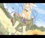 1girl adapted_costume blush flower green_eyes green_hair hat karua_m komeiji_koishi letterboxed rose scenery short_hair skirt skirt_basket skirt_lift sunflower third_eye touhou