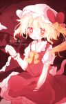 1girl blonde_hair bow flandre_scarlet hat hat_bow heart karunabaru open_mouth redhead sash side_ponytail solo touhou wings wrist_cuffs