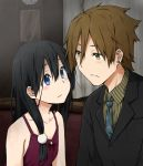 1boy 1girl alternate_costume black_hair blue_eyes brown_eyes brown_hair dress formal kagiana kitashirakawa_tamako long_hair ooji_mochizou short_hair suit tamako_market twintails