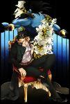 2boys black_hair chain chair fingerless_gloves gakuran gloves hat hertz_(tsuquart) highres jojo_no_kimyou_na_bouken kuujou_joutarou long_coat multiple_boys school_uniform sitting stand_(jojo) star_platinum