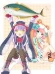 +_+ 2girls :d blue_eyes candy emil_chronicle_online fish hat highres holding hoshi_(snacherubi) lifting lollipop long_hair low_twintails multiple_girls open_mouth purple_hair redhead sitting smile twintails yellow_eyes