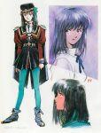 1girl 90s aoki_uru hat official_art production_art sadamoto_yoshiyuki science_fiction signature uniform