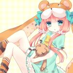 1girl blue_eyes casual doll_hug emil_chronicle_online hair_ornament hat highres hoshi_(snacherubi) long_hair looking_at_viewer low_twintails redhead solo stuffed_animal stuffed_toy teddy_bear triangle_mouth twintails
