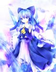 1girl alternate_color ascot blue_eyes blue_hair bow cirno commentary detached_sleeves furomaaju_(fromage) hair_bow hair_tubes hakurei_reimu hakurei_reimu_(cosplay) highres ice ice_wings long_sleeves nontraditional_miko player_2 skirt skirt_set smile solo too_bad!_it_was_just_me! touhou wide_sleeves wings