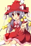 1girl :d character_request dress hat long_hair looking_at_viewer open_mouth reaching red_dress red_eyes silver_hair smile solo towelket_wo_mou_ichido uguisu_mochi_(ykss35) witch_hat