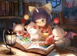 1girl book bookshelf bow desk eiko_carol final_fantasy final_fantasy_ix flower flower_pot green_eyes hair_bow indoors lantern moogle one_eye_closed overalls purple_hair reading sasumata_jirou short_hair sitting sketch tears window wings