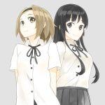 2girls akiyama_mio black_eyes black_hair brown_eyes brown_hair k-on! long_hair multiple_girls rsk_(tbhono) school_uniform short_hair standing tainaka_ritsu