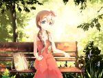 1girl bag bench blonde_hair dress highres k-on! kotobuki_tsumugi long_hair ludou sitting tainaka_ritsu