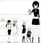 5girls bag black_hair cyclops giantess glasses hair_ornament hairclip hat height_chart height_difference hitomi_(hitomi_sensei_no_hokenshitsu) hitomi_sensei_no_hokenshitsu itsuki_(hitomi_sensei_no_hokenshitsu) labcoat long_hair long_sleeves long_tongue midriff minigirl monochrome multiple_girls navel nurse_cap one-eyed ooki_kyouko osanai_chisa oversized_clothes payot plant_girl ponytail school_bag school_nurse school_uniform shake-o shitara skirt thermometer tongue translation_request undersized_clothes