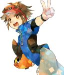 1boy blue_eyes brown_eyes brown_hair irouha kyouhei_(pokemon) pokemon pokemon_(creature) pokemon_(game) pokemon_bw2 short_hair short_sleeves solo tepig v visor_cap