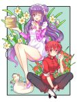 2girls ;d apron bell bird braid chinese_clothes double_bun duck flower food hair_bell hair_ornament index_finger_raised indian_style mousse multiple_girls nikuman one_eye_closed open_mouth purple_hair ranma-chan ranma_1/2 red_eyes redhead saotome_ranma shampoo_(ranma_1/2) single_braid sitting smile violet_eyes zonana
