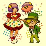1boy 1girl 1other blonde_hair bowtie closed_eyes elf formal hal_laboratory_inc. hat holding_hand hoshi_no_kirby human hylian j-pop j-pop_singer kirby kirby_(series) kyary_pamyu_pamyu kyary_pamyu_pamyu_(cosplay) link madogiwa_totto nintendo nintendo_ead pink_puff_ball pointy_ears purple_hair real_life short_hair smile suit super_smash_bros. super_smash_bros_for_wii_u_and_3ds the_legend_of_zelda toon_link top_hat triforce wind_waker