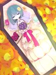 1girl blue_hair bouquet cd cd_case choker closed_eyes coffin corpse digital_media_player dress flower funeral hair_ornament hairclip ipod lolly_(mcr_cc) lying mahou_shoujo_madoka_magica miki_sayaka mp3 musical_note school_uniform short_hair solo spoilers veil wedding_dress