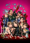 3boys 4girls abs ammo_box ashley_graham blonde_hair blue_eyes bomber_jacket breasts brown_eyes brown_hair candle candlestand choker chris_redfield claire_redfield cleavage cover cover_page dark_skin doujin_cover dual_wielding earrings elbow_rest explosive fingerless_gloves gloves grenade gun highres jewelry jill_valentine katou_teppei leon_s_kennedy lips looking_at_viewer multiple_boys multiple_girls necklace one_eye_closed open_mouth resident_evil resident_evil_4 resident_evil_5 resident_evil_code:_veronica rocket_launcher rpg sheva_alomar short_hair skorpion_vz._61 steve_burnside submachine_gun treasure watch weapon