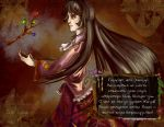 1girl antifreeze9 bow branch brown_eyes brown_hair english flower frilled_shirt frills houraisan_kaguya jeweled_branch_of_hourai long_hair profile russian smile solo touhou translated very_long_hair