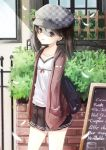 1girl :t absurdres adapted_costume alternate_costume backpack bag brown_eyes brown_hair bunny_print cabbie_hat chalkboard contemporary cowboy_shot flat_chest hands_in_pockets hat highres kantai_collection looking_at_viewer mouth_hold reio_reio ryuujou_(kantai_collection) short_hair skirt solo twintails