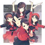 4girls beret black_hair flower fukumura_mizuki hat hirano_katsuyuki ishida_ayumi long_hair morning_musume multiple_girls oda_sakura pose rose sayashi_riho skirt